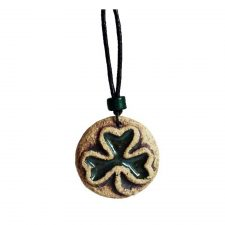 Ceramic Shamrock Pendant, unique shamrock gifts handmade by Michelle Butler, Ireland