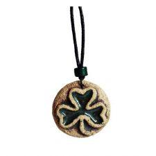 Ceramic Shamrock Pendant, unique shamrock gifts handmade by Michelle Butler, Ireland