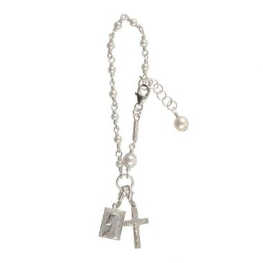 First Communion Rosary Beads, one decard of the rosary bracelet, handmade from sterling silver and freshwater pears. Handmade in Ireland
