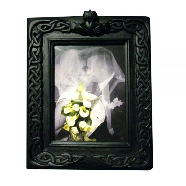 Turf Claddagh Wedding Photo Frame, made from ancient bogland turf, made in Ireland