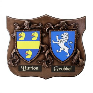 bronze coat of arms Burton and Grobbel
