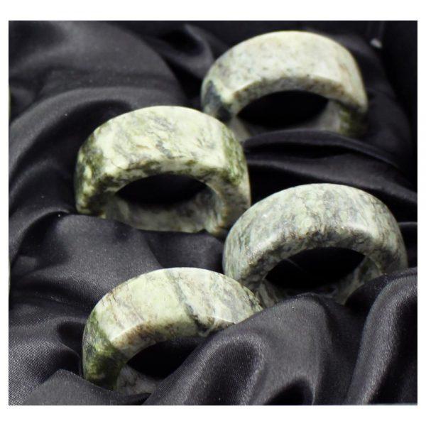 Connemara Marble Napkin Rings, set of four, handmade in Ireland by Hennessy & Byrne