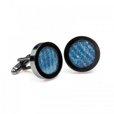 Blue Donegal Tweed Cufflinks, made in Ireland, woven from 100% Irish Wool