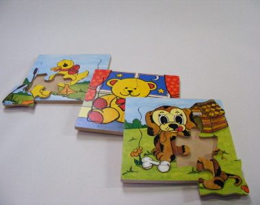 Kiddies Wooden Jigsaws, set of 3, puppy, duck and teddy. Made in Ireland