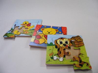 Kiddies Wooden Jigsaws, set of 3, puppy, duck and teddy. Made in Ireland