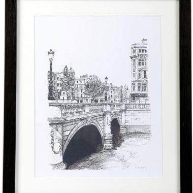 O'Connell Bridge Print, from original artwork by Fran Leavey, signed by the artist