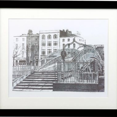 Ha'penny Bridge print, in a black frame, signed by the artist Fran Leavey of Fab Cow Design