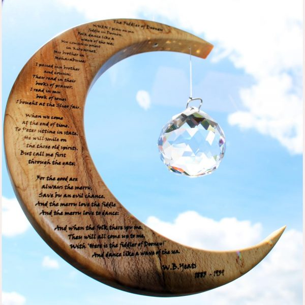Suncatcher made of wood and crystal, hanmade in Ireland