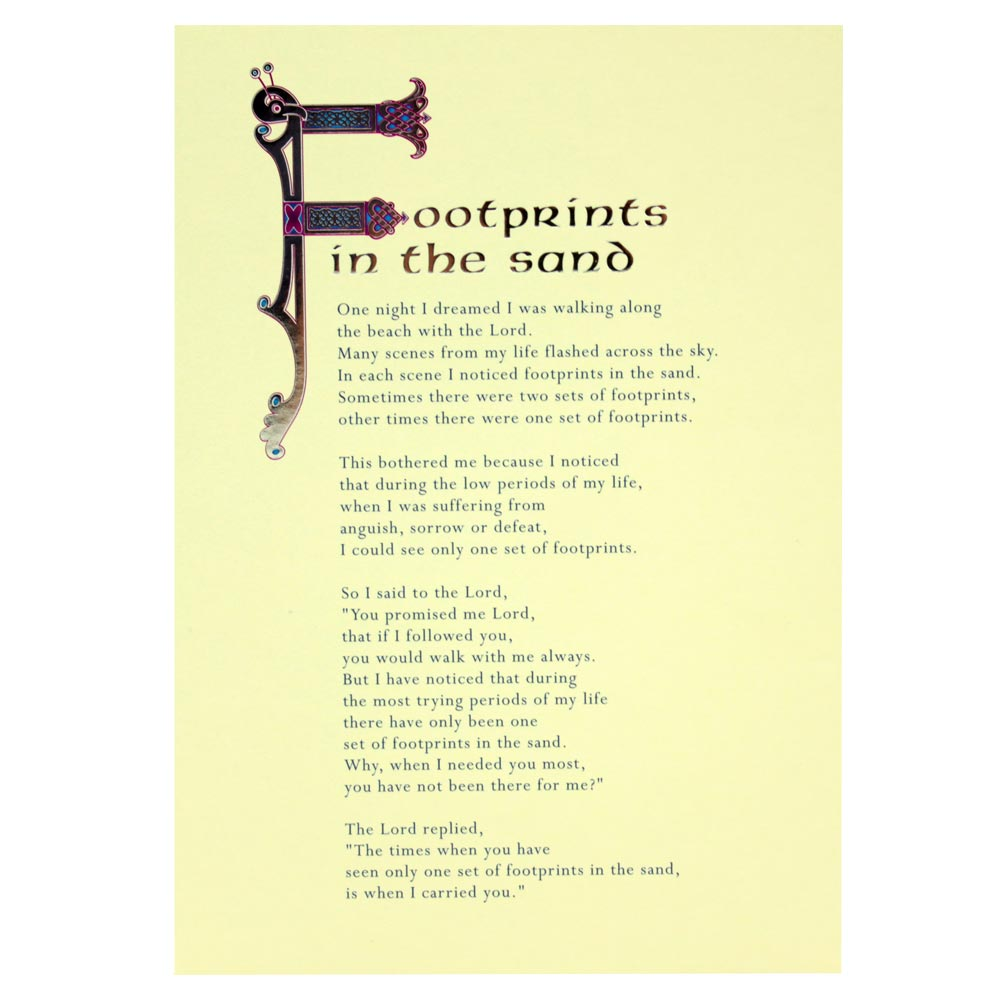 Footprints in the Sand Greeting Card | Totally Irish Gifts