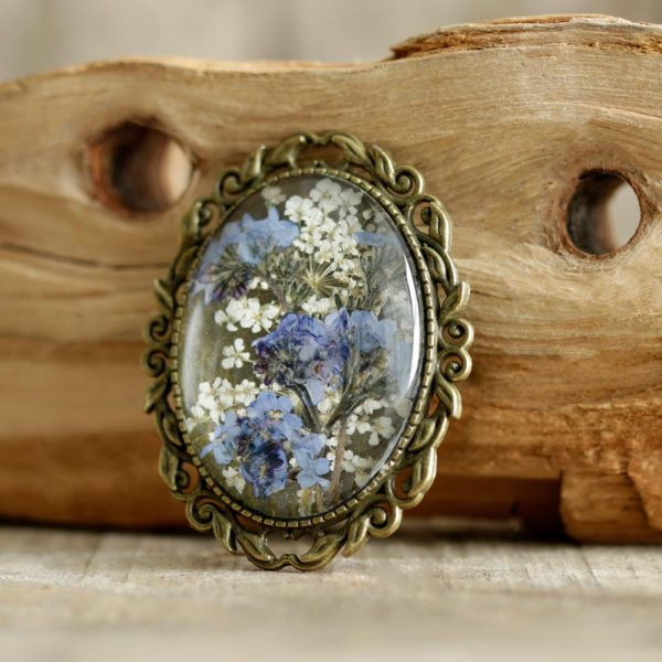 Forget-Me-Not Brooch handmade from real flowers, made in Ireland