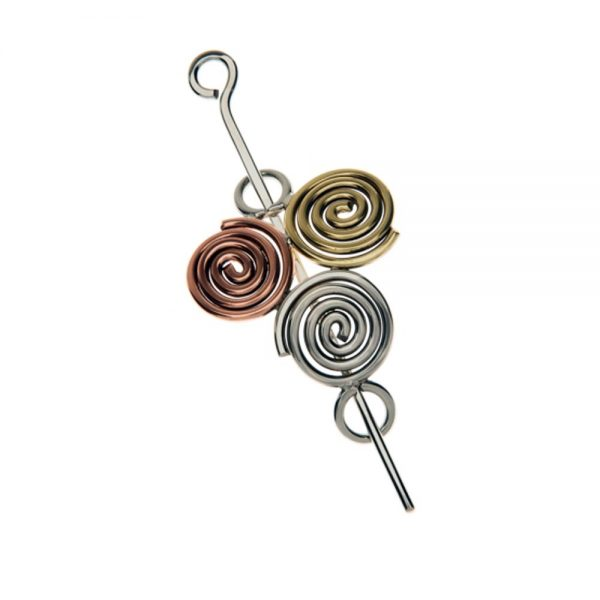 Newgrange shawl or hair pin, mixed metals, made in Ireland