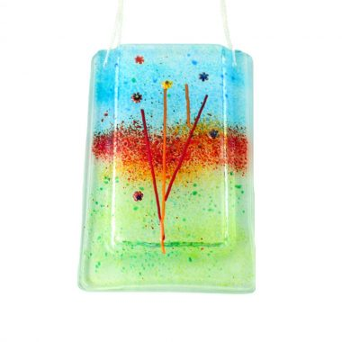 Fused Glass Hanging Vase, fused glass with wonderful colours, perfect for fresh or dried flowers, handmade in Ireland