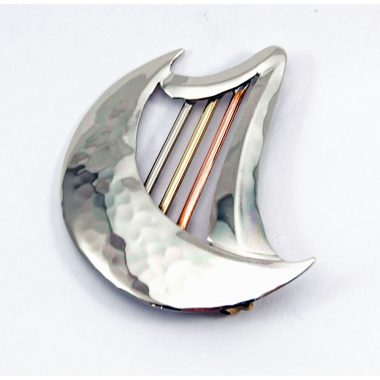 Half Moon Brooch, made from a mix of metals, copper, brass and alpaca silver, made in Ireland