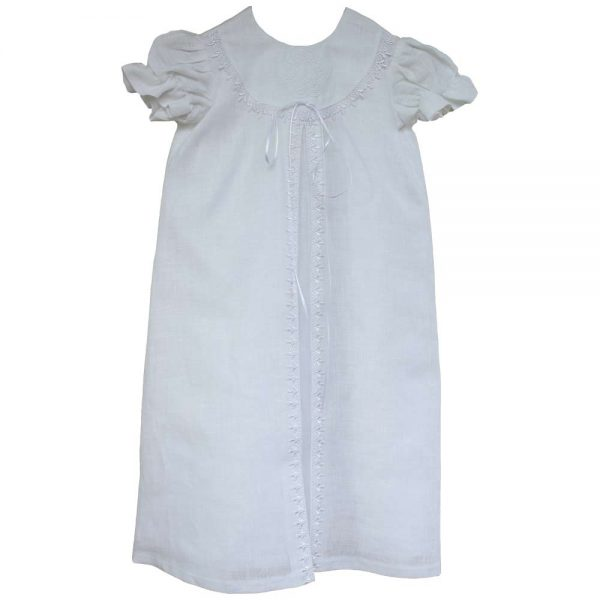 Irish Christening Gown, traditional linen gown with matching bonnet