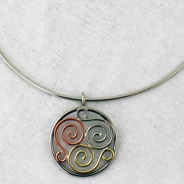 Triscle Necklet, handmade from copper, brass and alpasilver, made in Ireland from copper, brass and alpaca silver