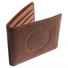 Brown leather wallet with Celtic design handmade in Ireland