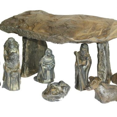 A Bronze Dolmen Nativity, 9 piece nativity set, made from cold cast bronze, made by O'Gowna Studios, Ireland