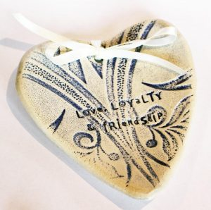 Ceramic Wedding Ring Bearer Dish with wording 'Love, Loyalty & Friendship