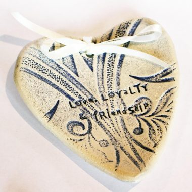 Claddagh Ring Dish, ceramic Wedding Ring Bearer Dish or beside tidy with wording 'Love, Loyalty & Friendship impressed on a heart shape dish, handmade in Ireland