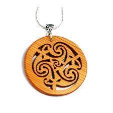 Shield Wood Pendant handmade Celtic knotwork