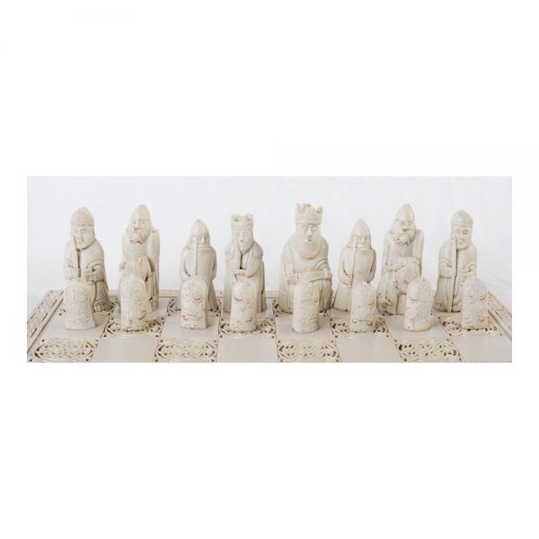 The white pieces of the Isle of Lewis chess set made in Ireland