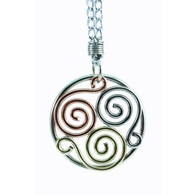 Triscle Pendant handcrafted using copper, brass and alpaca silver, made in Ireland