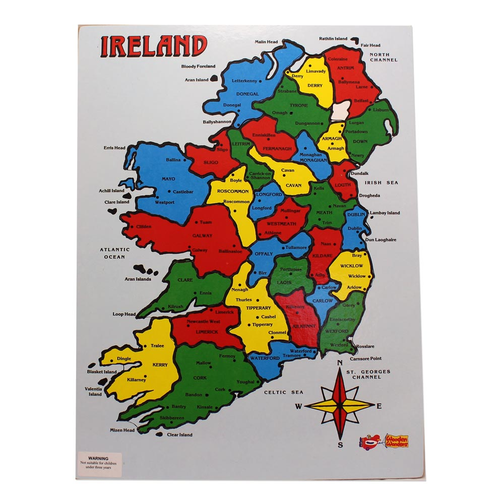 Map Of Ireland Showing Athlone.32 Counties Of Ireland Wooden Jigsaw