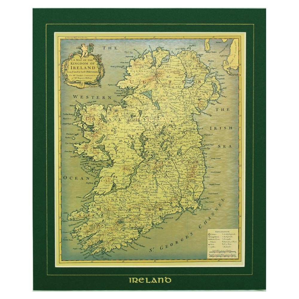 Show Map Of Ireland.Olde Kingdom Map Of Ireland Old Style Gold Foil Mount Map Of Ireland