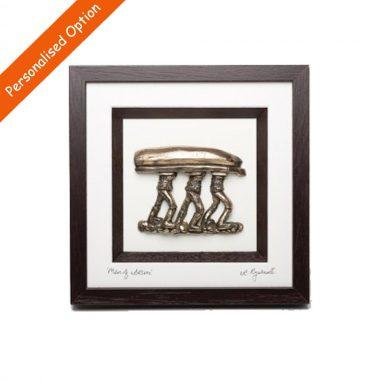 Men of Aran Framed bronze art, signed by artist, Rynhart, made in Ireland