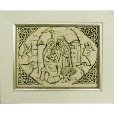 Beautiful ceramic nativity scene with Celtic design surround, in a cream wooden frame, made in Ireland