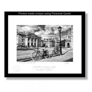 Framed Photo Print of Parliament Square, Trinity College Dublin, signed by the photographer Patrick Donald, personalised with your message