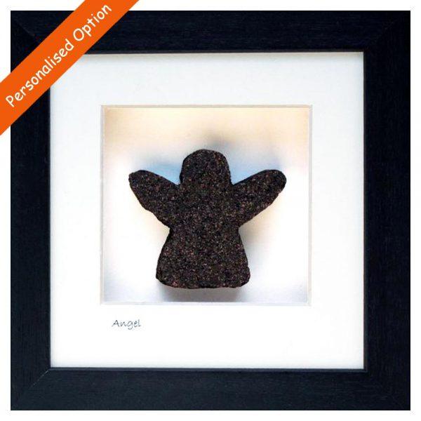 Angel shape cut from Irish Turf and framed, made in Ireland