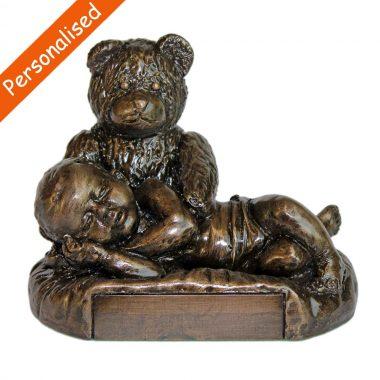 Christening Bear & Boy, bronze Christening gifts made in Ireland