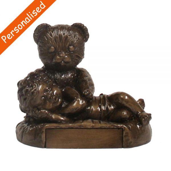 Christening bear and girl, lovely Christening Gift made in Ireland, bronze Baby keepsake