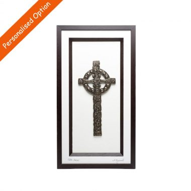 Celtic Cross Framed Bronze, 3D art, signed by the artist. Designed and made in Ireland by Rynhart