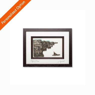 3D Bronze Cliffs of Moher of a quality brown frame, signed by the artist, Rynhart, made in Ireland