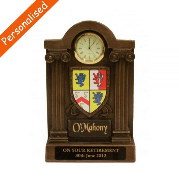 personalised coat of arms clock o'mahony Ireland