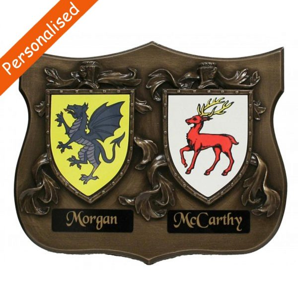 Coat of arms plaque for both family names, quality bronze gift made in Ireland