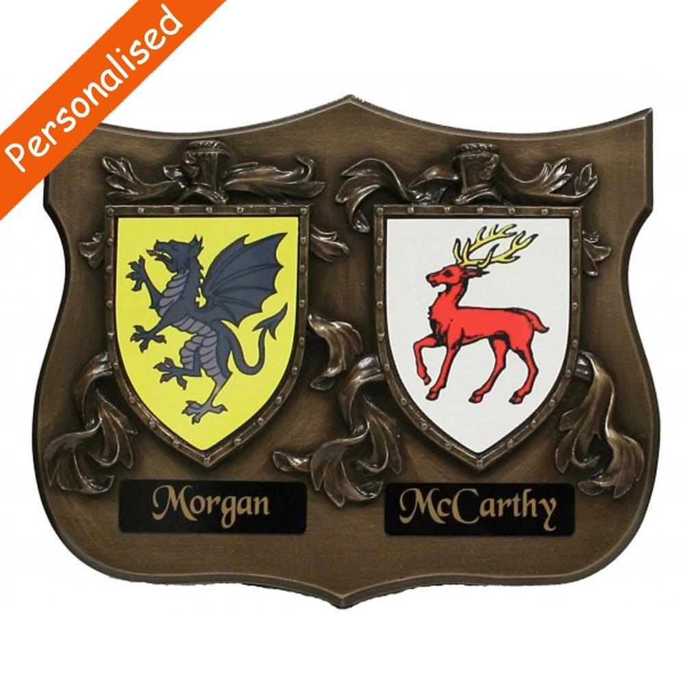 Bronze Double Coat of Arms plaque