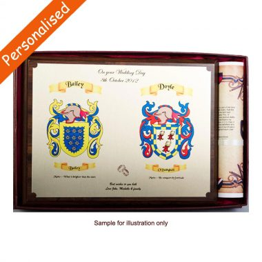 Heraldic Engagement Plaque, family crests engraved on brass plate on wooden plaque with history scroll, made in Ireland
