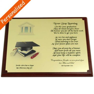 graduation plaque, wall hanging or free standing, personalised with graduate's details, made in Ireland