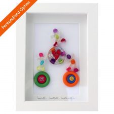 Live love laugh buttons, handmade in Ireland, framed gift