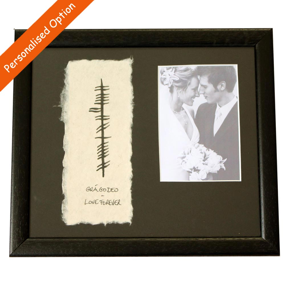 Personalised Photo Frame Wedding Gift: Ogham Wedding Photo Frame ☘ Totally Irish Gifts
