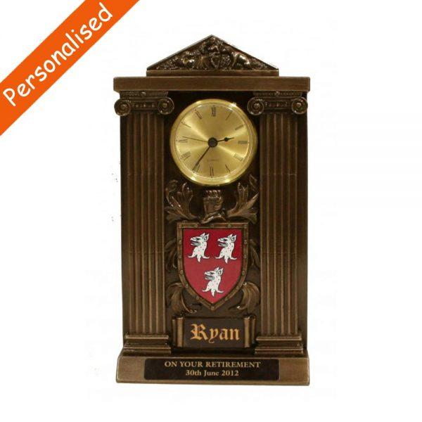 personalised ryan coat of arms clock