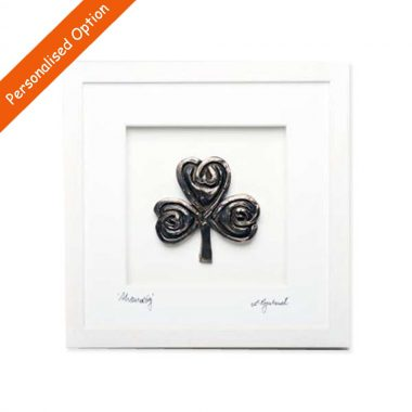 Shamrock Framed Bronze Art, 3d bronze art in a quality wooden frame, handmade by Rynhart, Ireland, signed by the artist