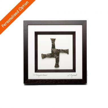 The St Brigids Cross is a Traditional New Home Gift, 3d bronze cross in lovely brown frame, made in Ireland