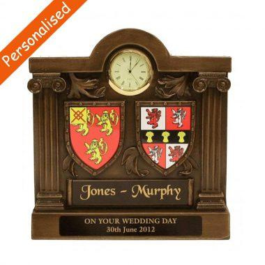 Double coat of arms clock, bronze gift made in Ireland
