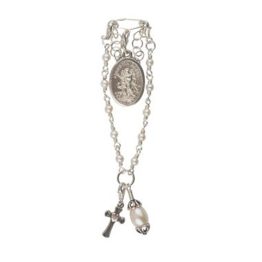 This Baby Rosary Pin is a perfect Christening Gift, handmade in Ireland