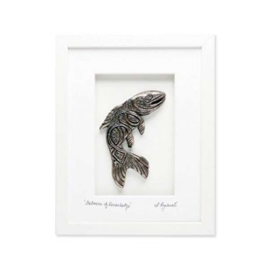 Salmon of Knowledge framed bronze, white frame, gifts made in Ireland by Rynhart