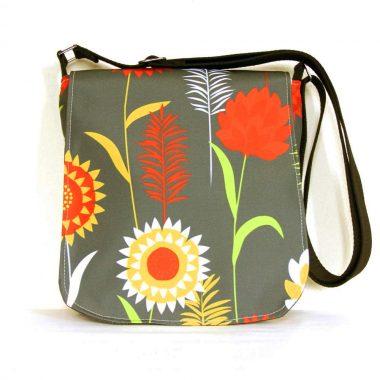 Sallyann Messenger Bag Grey is handmade in Ireland, oilcloth showerproof outer with denim lining